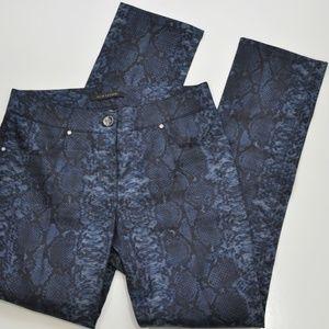 Elie Tahari Women's Pants Blue Animal Print Linen